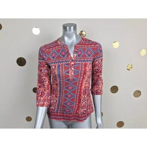 Lucky Brand Top Blouse Casual 3/4 Sleeve  Sz XS